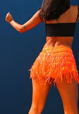 Neon Orange La Bamba Sequin Tassel Hot Pant