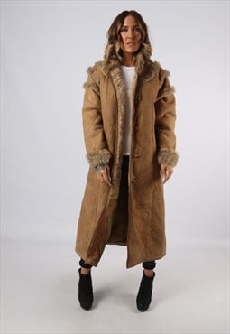 Sheepskin Suede Leather Long Shearling Coat UK 14 (A9BW)