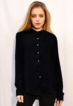 Basic Plain color Chiffon Shirt with Gold Buttons in black