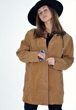 Vintage 90's Real Suede Leather Jacket Coat