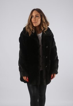 Vintage Faux Fur Coat Jacket UK 14 Short Mid (CHBB)