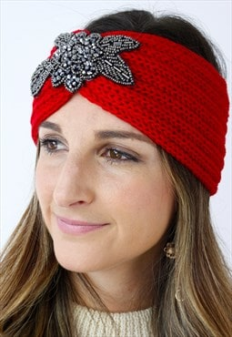 Red Silver Beaded Ribbed Knitted Turban Headband