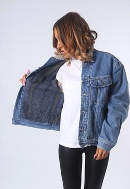 LEE Denim Jacket WOOL LINED Oversized Fitted UK 16 (G53J)