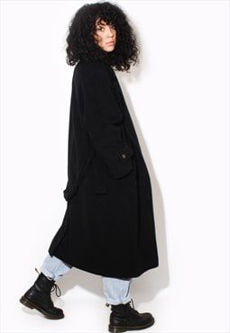 Vintage 90's BLACK wool trench coat winter