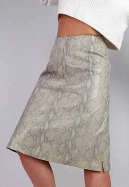 Vintage Y2K Dead-stock H&M Leather Snakeskin Skirt