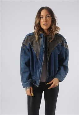 Vintage Denim Jacket Oversized Leather UK 12 Medium (LB3K)