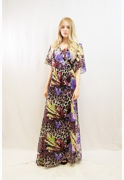 Oversize orange floral daisy print chiffon long wrap dress