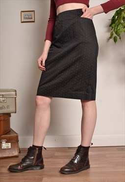 Vintage Patterned Pencil Skirt in Grey