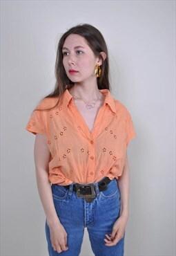 80s orange floral embroidery minimalist short sleeve blouse