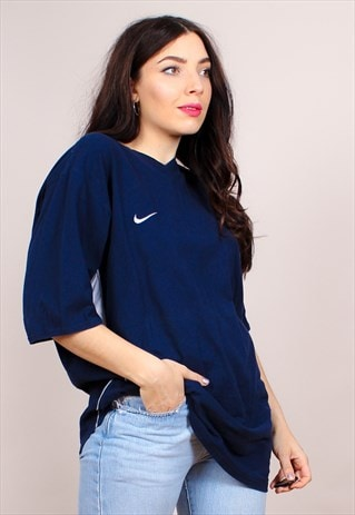 VINTAGE 90S NAVY BLUE NIKE OVERSIZED T-SHIRT
