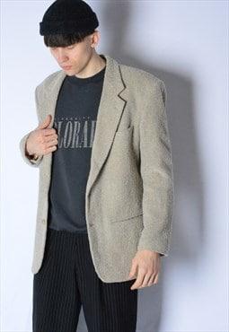 Vintage 70s Beige Wool Blend Blazer