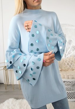 jumper one size pastel blue sleeves with sequins flying