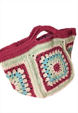 Handmade Knit Bag in Pink