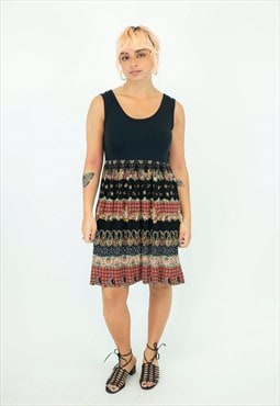 90s Black and Red Paisley Dress