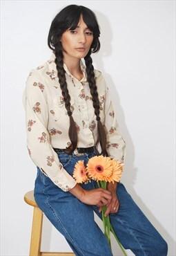 70s Western Shirt (M) vintage floral beige cowboy cowgirl