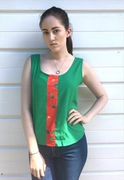 Womens Vintage 80s vest top abstract green sleeveless blouse
