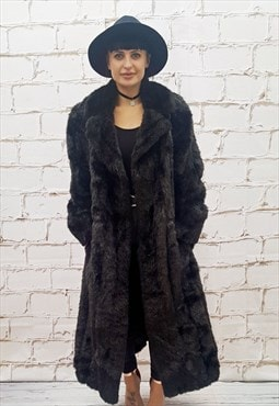 Full Length Dark Brown Faux Fur Coat