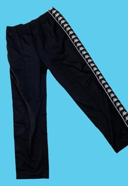 Vintage Black Kappa Tracksuit Bottoms