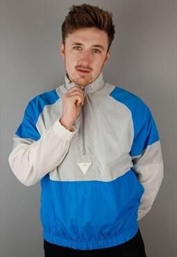 Vintage Nike 1/4 zip jacket windbreaker blue white festival