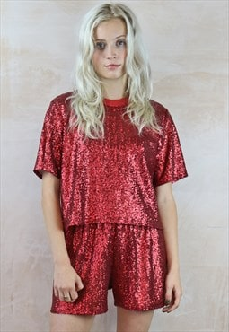 Sequin Shorts & Top Co-Ordinates in deep red
