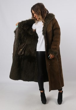Sheepskin Suede Shearling Coat Hooded Long  UK 14 (A8BM)