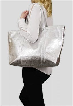 'ALICE' Silver Metallic Semi Soft Full Grain Shopper Bag
