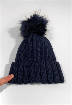 Faux Fur Bobble Knitted Ribbed Beanie Hat - Navy Blue