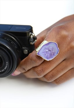 Mega Lavender Semi Precious Gold Statement Ring
