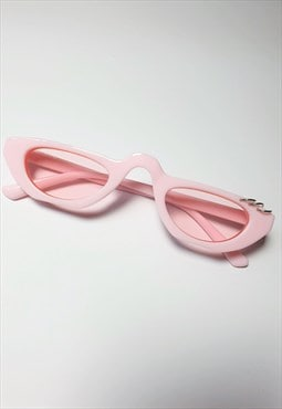 Slim Red Y2K Tinted Sunglasses in pink