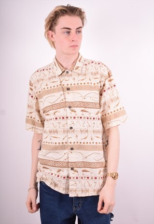 WOOLRICH MENS VINTAGE AZTEC SHIRT MEDIUM BEIGE 90'S