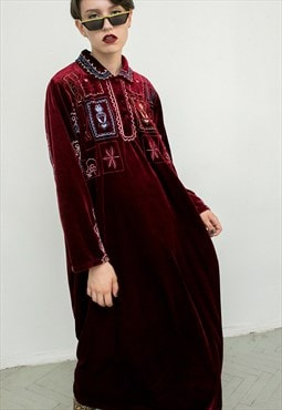 Vintage Robe Crimson Red Velvet Unisex Embroidery Kaftan