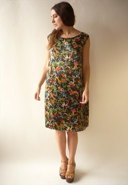 1970's Vintage Satin Dragon Novelty Print Midi Shift Dress