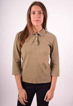 Tommy Hilfiger Womens Vintage Polo Shirt Medium Khaki 90s