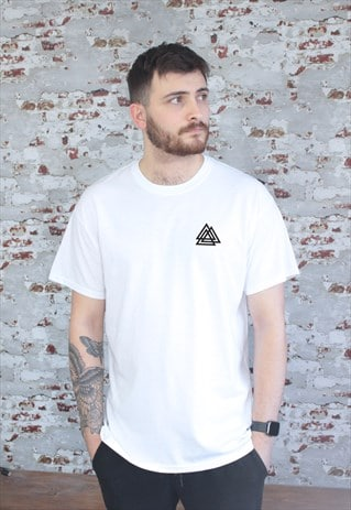 War print cotton t-shirt in White