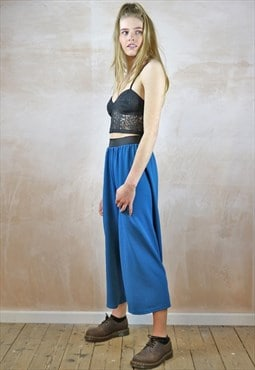 Blue Textured Crop Trousers