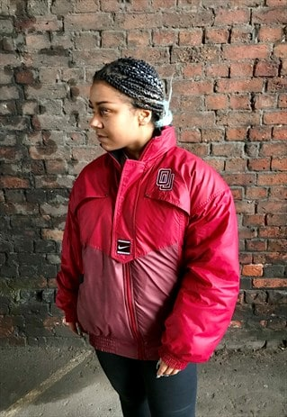 VINTAGE 90'S NIKE OG RED ZIP THROUGH BOMBER JACKET COAT