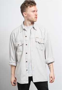 Vintage Corduroy Cord Shirt White