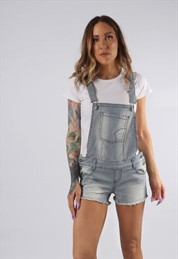 Vintage Striped Denim Dungaree Shorts PETITE UK 10 - 12 BD4Y