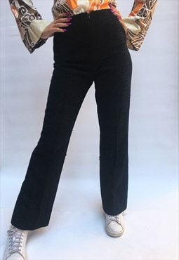 Vintage 1970's Black Corduroy Pants Crop