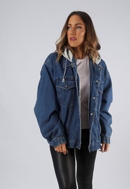 Vintage Denim Jacket Oversized Sweatshirt Hoody UK 18 (O1T)