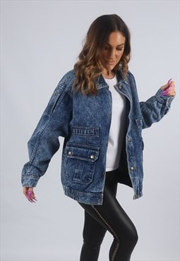 Vintage Denim Bomber Jacket Oversized ACID WASH UK 16 (CKBA)