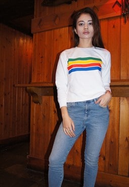White rainbow stripe sweater