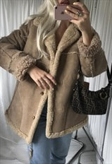 Vintage 1970s Cream Tan Shearling Sheepskin Jacket