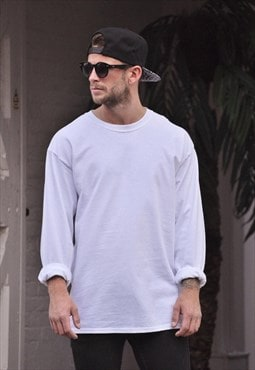 New Mens Plain White Oversize Long Sleeve T shirt Top Tee