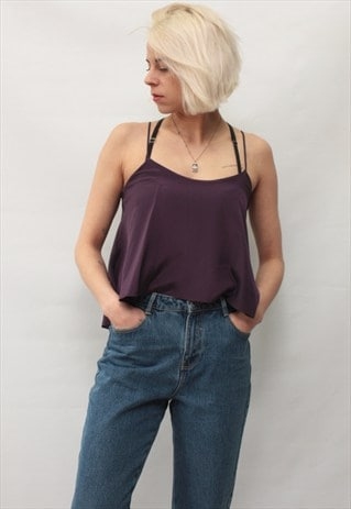 VINTAGE 90' AMAZING BEAUTIFUL DARK PURPLE TOP WITH FRILL