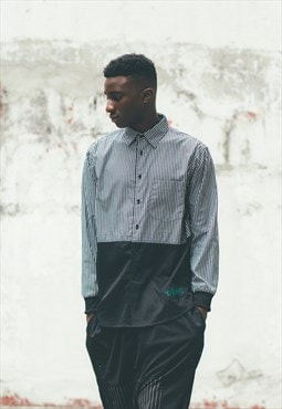 DEMOS BLACK Striped print cotton mesh shirt