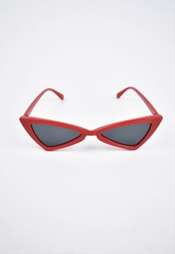 y2k small triangular red rave sunglasses