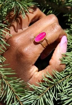 Pink Semi Precious Stone Gold Ring