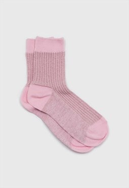 Pale pink metallic vertical stripe socks