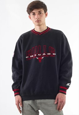Vintage Starter CHICAGO BULLS NBA Crew Neck 90s Black